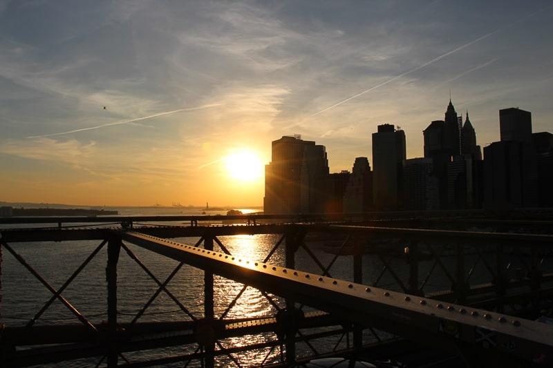 ブルックリンブリッジ 夕日